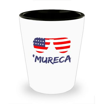 Mureca Red White And Blue Flag Sunglasses Drinking Shot Glass
