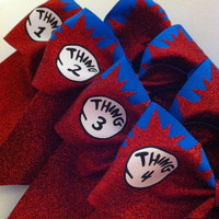 3in. Thing 1 2 3 & 4 Glitter Cheerbow Set Cheer Bow