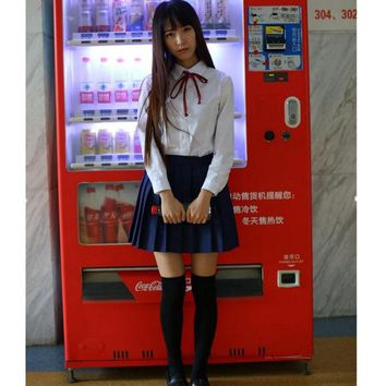 White Long Sleeve Shirt+Skirt School Students Uniform College Preppy Japanese school uniform
