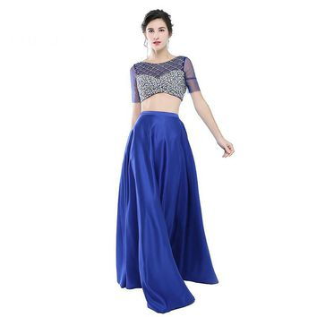 New Fashion Royal Blue Evening Dress Two Pieces A Line Long Satin Evening Dresses Backless Floor Length Formal Party Gowns