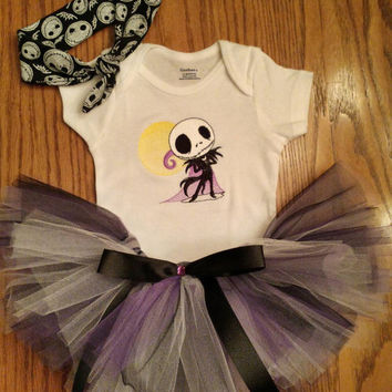 Jack Skellington Baby Tutu U0026 Onesuit Bodysuit And Headband Outfi