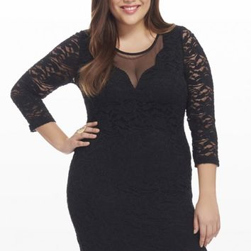 Plus Size Ever After Lace Mesh Dress | Fashion To Figure