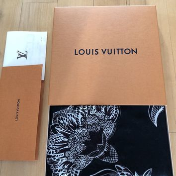 LOUIS VUITTON MACRO INDIAN FLOWER STOLE SHAWL SCARF $1200 RARE!! $1NR