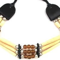 Brown Beaded Bone, Leather and Glass Choker Native American Inspired Necklace Pendant Women's Men's Jewelry
