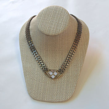 Edgy Thick Link Chain Stone Pendant Choker Necklace - Gunmetal/Multi
