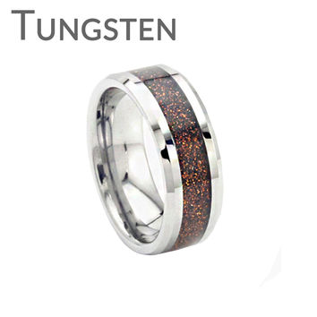 Copper Gold Rush – Copper goldstone inlay bevelled edge tungsten men's ring