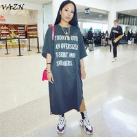 VAZN New Women Fashion Elegant 2018 Casual Style Women Dresses Print Letters O-Neck Half Sleeve Loose Midi Dress Vestidos W8044