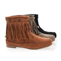 Starcy93 Whisky By Wild Diva, Moccasin Braid Fringe Round Toe Flat Ankle Boots