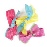 Double Ponytail Holders (3) Bow Hair Ties - School Spirit FOE Hair Ties - Knotted Hair Ties - Choose Colors - Tween, Teen Hair Candy