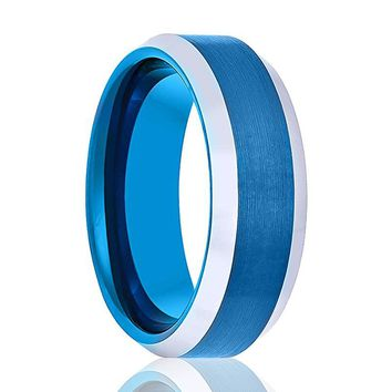Aydins Tungsten Wedding Ring Blue Brushed Polished Beveled Edges 6mm, 8mm Tungsten Carbide Mens & Womens Band