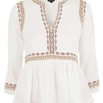 Topshop Embroidered Peplum Peasant Blouse | Nordstrom