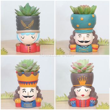 Cool Nutcracker Doll Flowerpot Set - 4pcs Resin Succulent Plant Pot King Queen Design Flower Pot Fairy Garden Bonsai PlanterAT_93_12