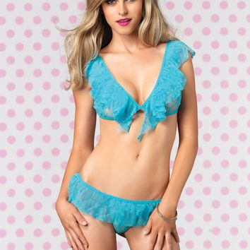 Ruffle Crop Top and G-String - Turquoise - One Size