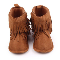 0-12M born Kids Boys Gilrs Baby Shoes Soft Sole Tassel Booties Fabric Infantil Toddler First Walker