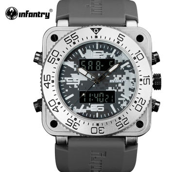 Men Sport Digital Watches Military Army Outdoor Dual Display Quartz Watch Waterproof Square Face Rubber Band Male Clock