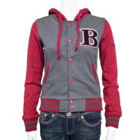 Charcoal Red Ladies Hooded Jersey Letterman B Jacket Varsity Team 28 Shoulder