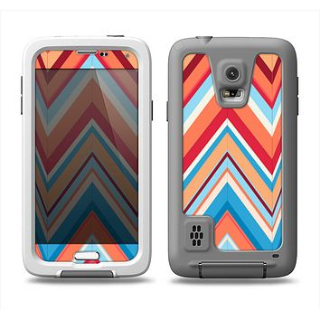 The Coral & Red Chevron Zig Zag Pattern V43 Samsung Galaxy S5 LifeProof Fre Case Skin Set