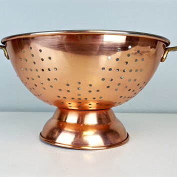 Vintage Copper Colander Brass Handles, Footed Copper Colander Brass Handles, Vintage Copper Kitchenware, Copper Cookware, Farmhouse Decor