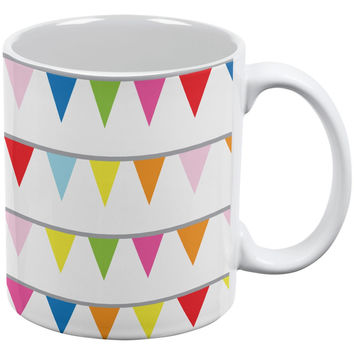 Summer - Pennant Banner Colorful Fun Party White/Yellow All Over Coffee Mug