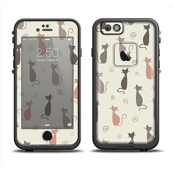 The Vintage Solid Cat Shadows Apple iPhone 6/6s Plus LifeProof Fre Case Skin Set