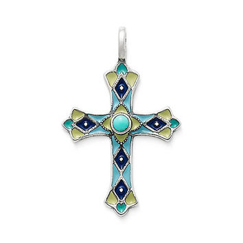 Enamel Byzantine Cross with Turquoise