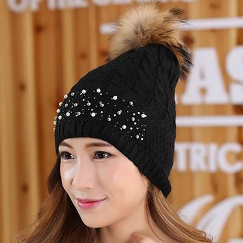 DCCKJG2 Women winter hat Rivets pearl Decoration wool knitted beanies cap real raccoon fur pompom hats ski gorros cap female causal hats