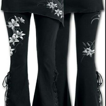 Gothic Leggings with Slant Skirt and Lace Up Bottom Bell Bottoms