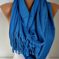 ON SALE - Blue Infinity Scarf  Circle Scarf  Loop  Scarf  with Fringe Gift -fatwoman
