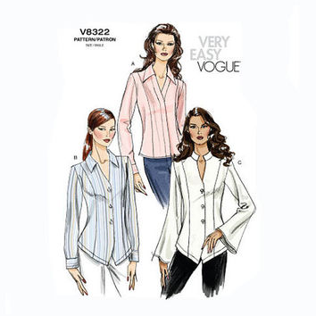 Pointed V-Shaped Hemline V-Neck Standing Collar Misses Womens Blouse Shirt Top Very Easy VOGUE 8322 UNCUT Sewing Pattern Bust 38-40-42-44