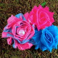 Dog Collar Flower Collar Accessory Neon Pink and Blue Stripe Puppy Blooms