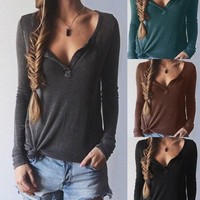 Autumn V-neck Long Sleeve Tops T-shirts [4966041476]