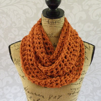Infinity Scarf Burnt Pumpkin Orange Crochet