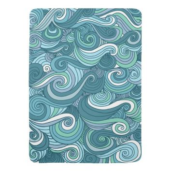 Ocean Wave Line Drawing Stroller Blanket