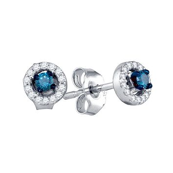 10kt White Gold Womens Round Blue Colored Diamond Stud Earrings 1/5 Cttw