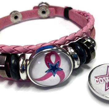 Breast Cancer Awareness NFL Dallas Cowboys Pink Leather Bracelet W/2 Snap Jewelry Charms New Item