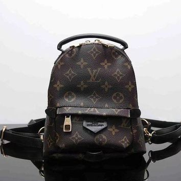 Tagre™ LV Louis Vuitton Trending Women Print Shoulder Bag Bookbag Backpack School Bag Coffee I