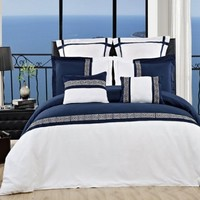 8PC- King/Cal-King Astrid Navy/White Comforter Set including Down-Alterntive Comforter By Hotel Collection