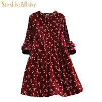 2016 Japanese korean style long sleeved autumn fall all match fashion small flowers print floral fashion corduroy woman dress