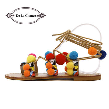 De La Chance Flat Sandals Female Summer 2017 New Lace Up Sandals Pompoms Ankle Strap Summer Gladiator Women Sandals Leisure