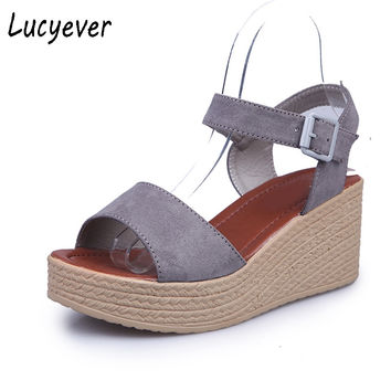 Lucyever Summer Women's Leisure Buckle Open Toe Platform Wedges Sandals Fashion Faux Suede High Heels Shoes Woman Black Gray