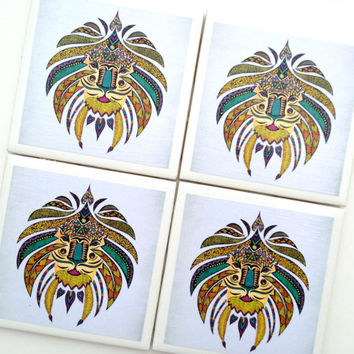 Tribal Lion Coasters, Lion Decor, Tile Coasters, Lion Head, Drink Coaster, Emperor Lion, Lion Poster, Tribal Print, Pamela Gallegos