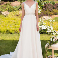 Flowy Chiffon Ivory Wedding Dress with Flower Detail Custom Size 0 2 4 6 8 10 12
