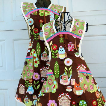 Mother Daughter Retro Apron Set Matching Owls and Teapots Full Aprons