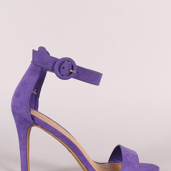 Suede Ankle Strap Single Sole Heel