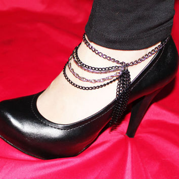 Silver and Black Chains Multistrands Anklet - Shoe Harness -Armor