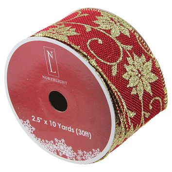 "Cranberry Red and Gold Poinsettia Burlap Wired Christmas Craft Ribbon 2.5"" x 10 Yards"