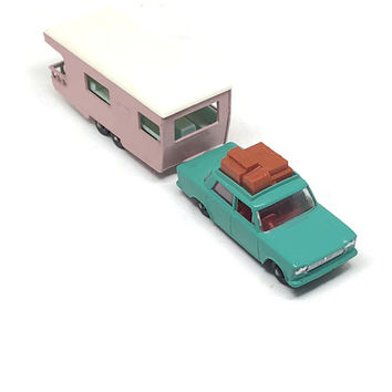 Matchbox Lesney No 56 Turquoise Fiat 1500 with Roof luggage and Matchbox Lesney No 23 Caravan Pink Camper Trailer Vintage Die Cast Toy Car