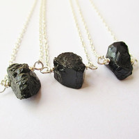Lump Of Coal Necklace Raw Black Quartz Nugget On Silver Chain