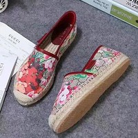 GUCCI Slip-On Women Fashion Flower Espadrilles Flats Shoes