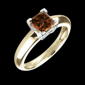 1.25 carat champagne radiant cut diamond solitaire ring two tone gold